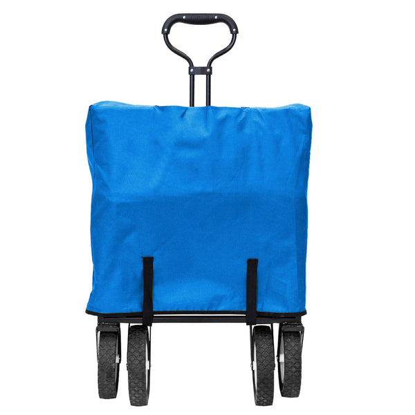 Mac Sports Collapsible Folding Outdoor Utility Wagon with Side Table - Blue