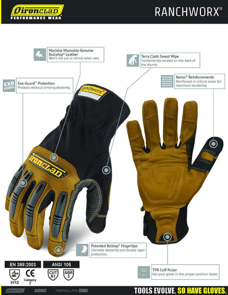 Ironclad Ranchworx Work Gloves RWG2, Premier Leather Work Glove, Performance Fit, Durable, Machine Washable, (1 Pair), X-Large - RWG2-05-XL