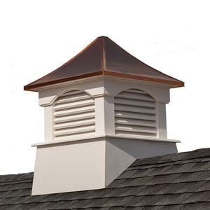 "Good Directions Vinyl Coventry Louvered Cupola with Pure Copper Roof,  Maintenance Free Solid Cellular PVC Vinyl, 30"" x 42"", Reinforced Roof and Louvers, Cupolas"