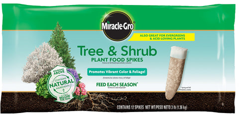 Miracle-Gro 485101205 Tree & Shrub Plant Food Spikes, 12per, Basic Pack