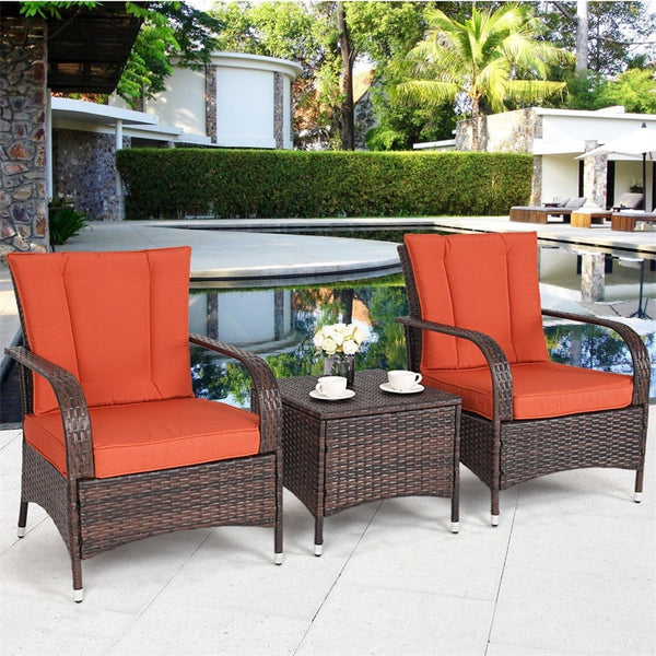3 Pcs Outdoor Patio Garden PE Rattan Wicker Furniture Set 1 Coffee Tables and 2 Chairs Comfort Thick Cushions  HW58621