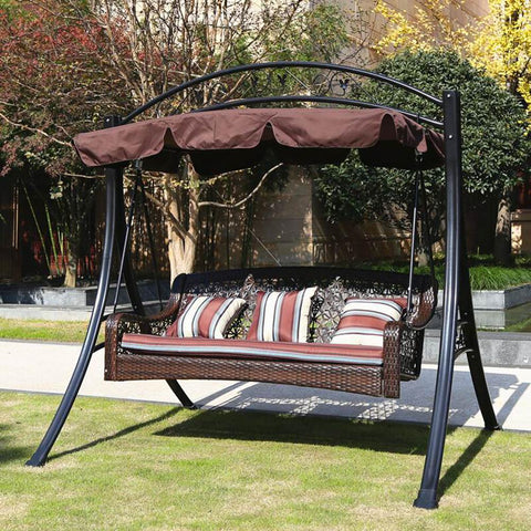 210x145cm Outdoor Swing Canopy Replacement UV30+ Sunshade Park Seat Garden Waterproof Dust Cover For Park Seat Patio Yard Ivory