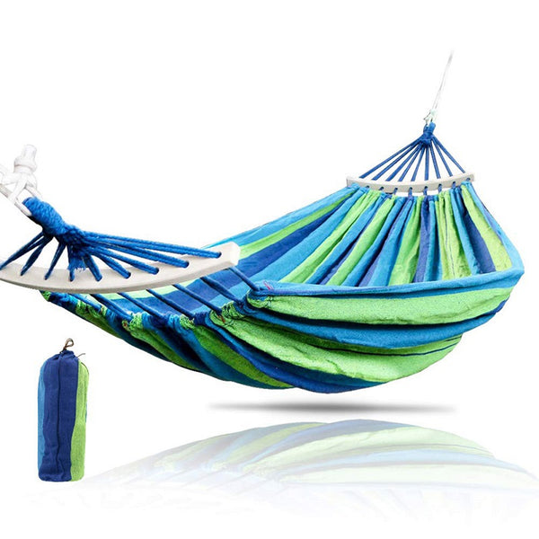 1-2 Person Garden Hammock Portable Outdoor Hammock Sports Home Travel Camping Swing Chair Canvas Stripe Hang Bed Hammock