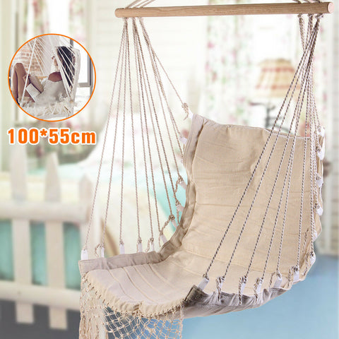 Canvas Swing Hanging Hammock Cotton Rope Tassel Tree Chair Seat Patio Outdoor Indoor Garden  Bedroom Safety Hanging Chair