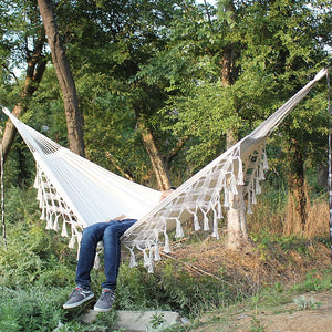 Hammock Boho Large Brazilian Macrame Fringe 2 Person Double Deluxe Hammock Swing Net Chair indoor hanging chair hammock swings