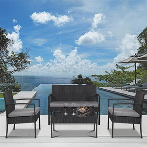 4pcs/set Modern Outdoor Patio Rattan Wicker Furniture Set with Table Sofa Cushioned Garden Table Chair Set