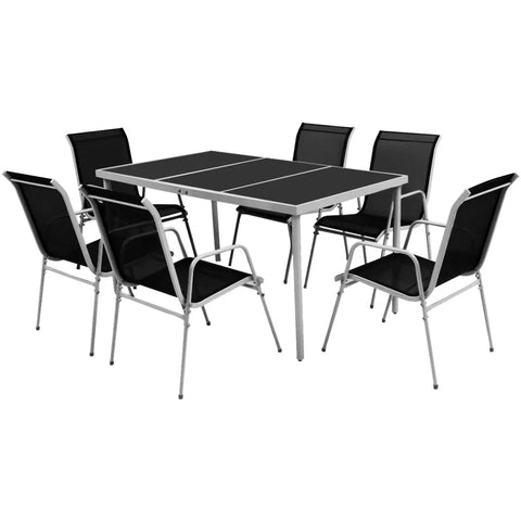 Modern 7 Piece Outdoor Dining Set Steel Black For Garden/Balcony/Patio Simple Fashion Glass Top Table 2019 New Arrival