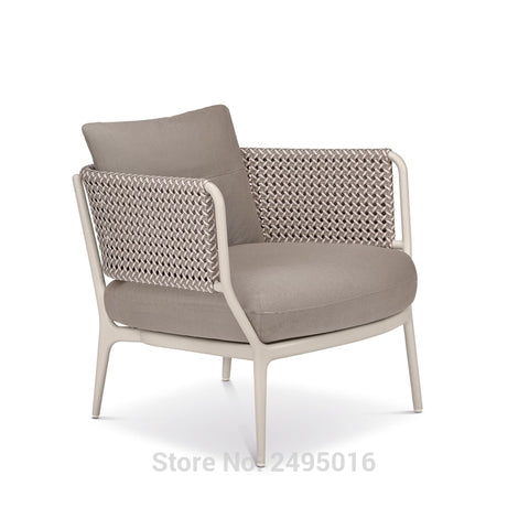 Patio furniture-Wicker modern Chair Patio Porch Deck Furniture All Weather Proof with Cushions