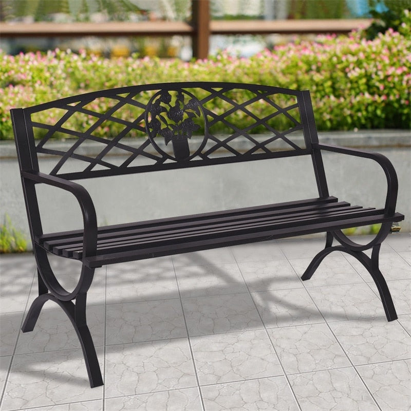 50 inch Patio Black Decent Garden Bench Steel Frame Park Courtyard Leisure Outsoor Benches Seating Set for 3 Persons OP3139