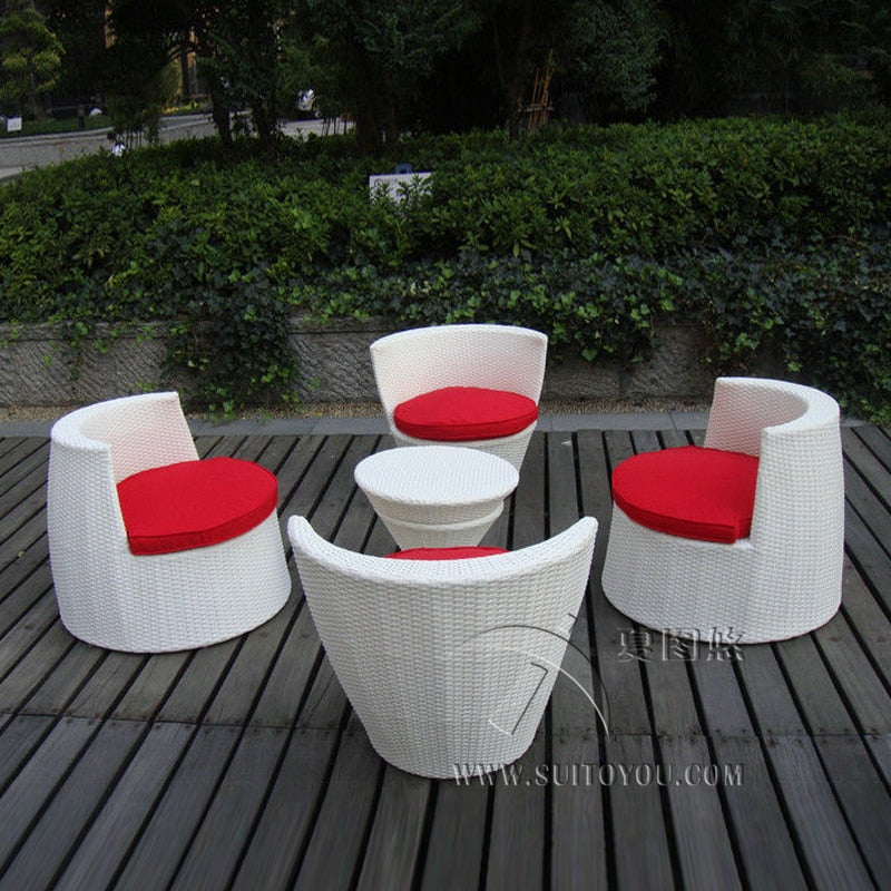 5 pcs All Weather PE Rattan Obelisk Chair For Office / Patio Leisure transport by sea