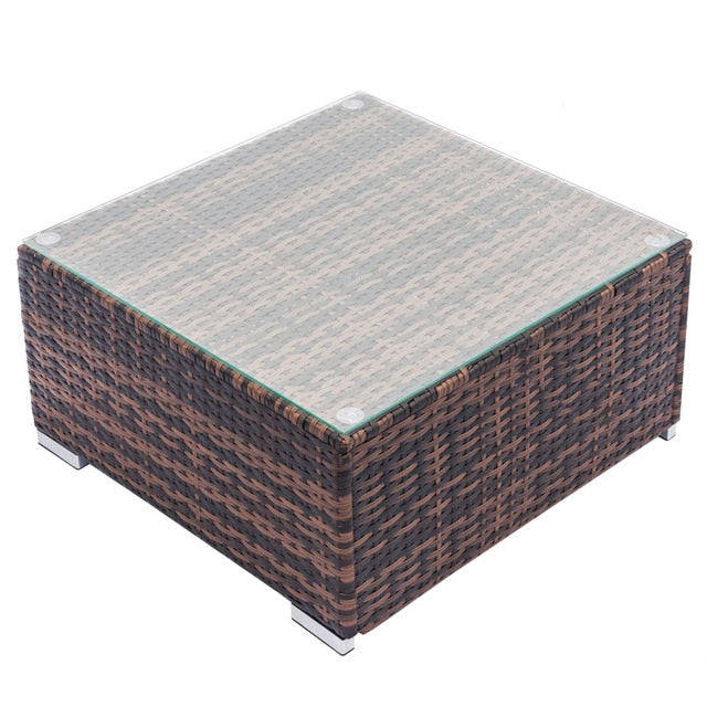 Patio Rattan Wicker Chair Sofa Fully Equipped Weaving Rattan Sofa Brown Gradient Backyard Outdoor Garden Sofa Set - US Stock