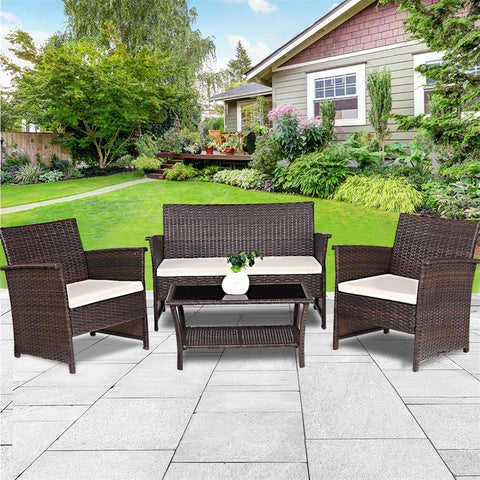 4 Pcs Outdoor Patio Rattan Furniture Wicker Sofa Set Modern High Quality Outdoor Furniture  Table and Chair Patio HW57026