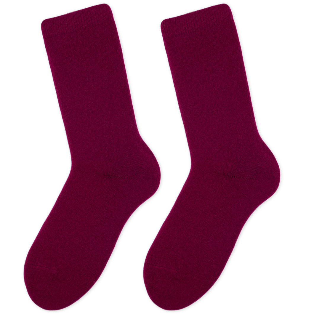 Cashmere socks women burgundy Etugen