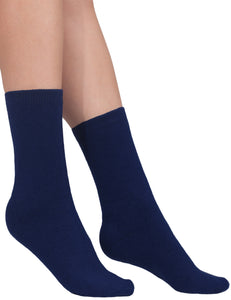 Cashmere socks women navy Etugen