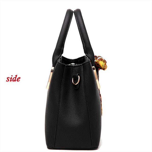 Elegant Pu Leather Bag with Silk Scarf