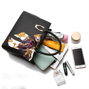 Elegant Pu Leather Bag with Silk Scarf  2