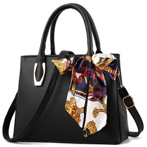Elegant Pu Leather Bag with Silk Scarf black
