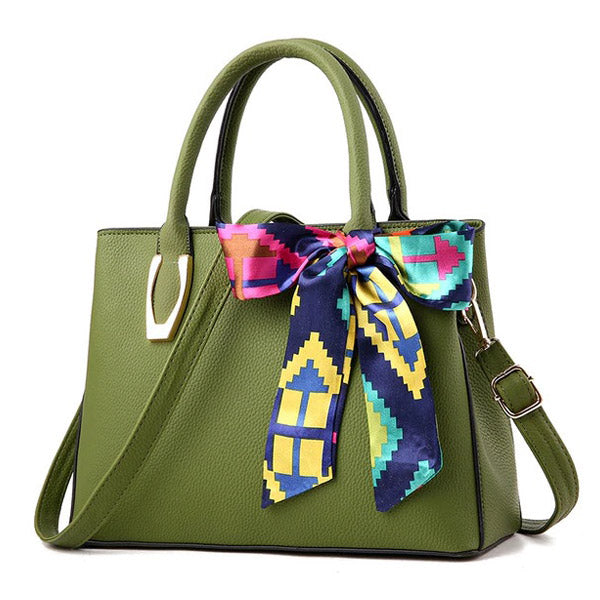 Elegant Pu Leather Bag with Silk Scarf green