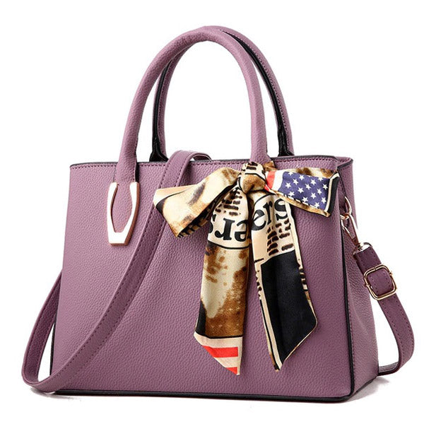 Elegant Pu Leather Bag with Silk Scarf purple