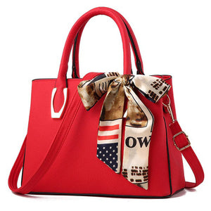 Elegant Pu Leather Bag with Silk Scarf red
