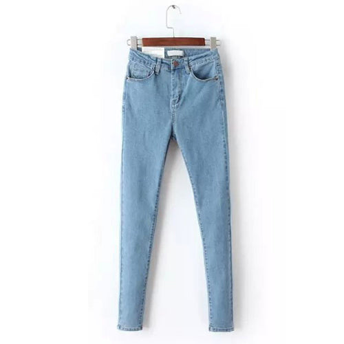 Vintage High Waist Jeans Denim Elastic Skinny Jeans for Women