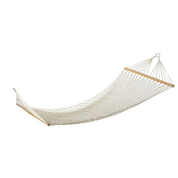 White Cotton Hammock (Swinging Outdoor Mesh with Rope)