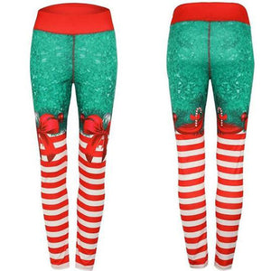 Christmas Leggings - High Waist Candy Stripe Bow