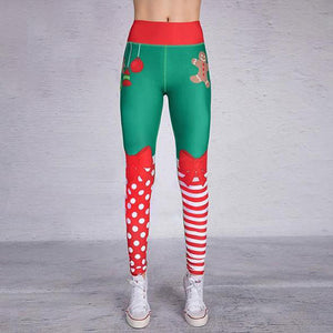 Christmas Leggings - High Waist Elf Squad Green Polka Dot Stripe