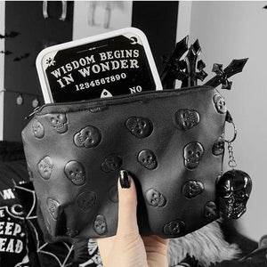 Embossed Skull Makeup Pouch