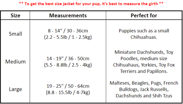 Comfortable Dog Harness Sizing Chart