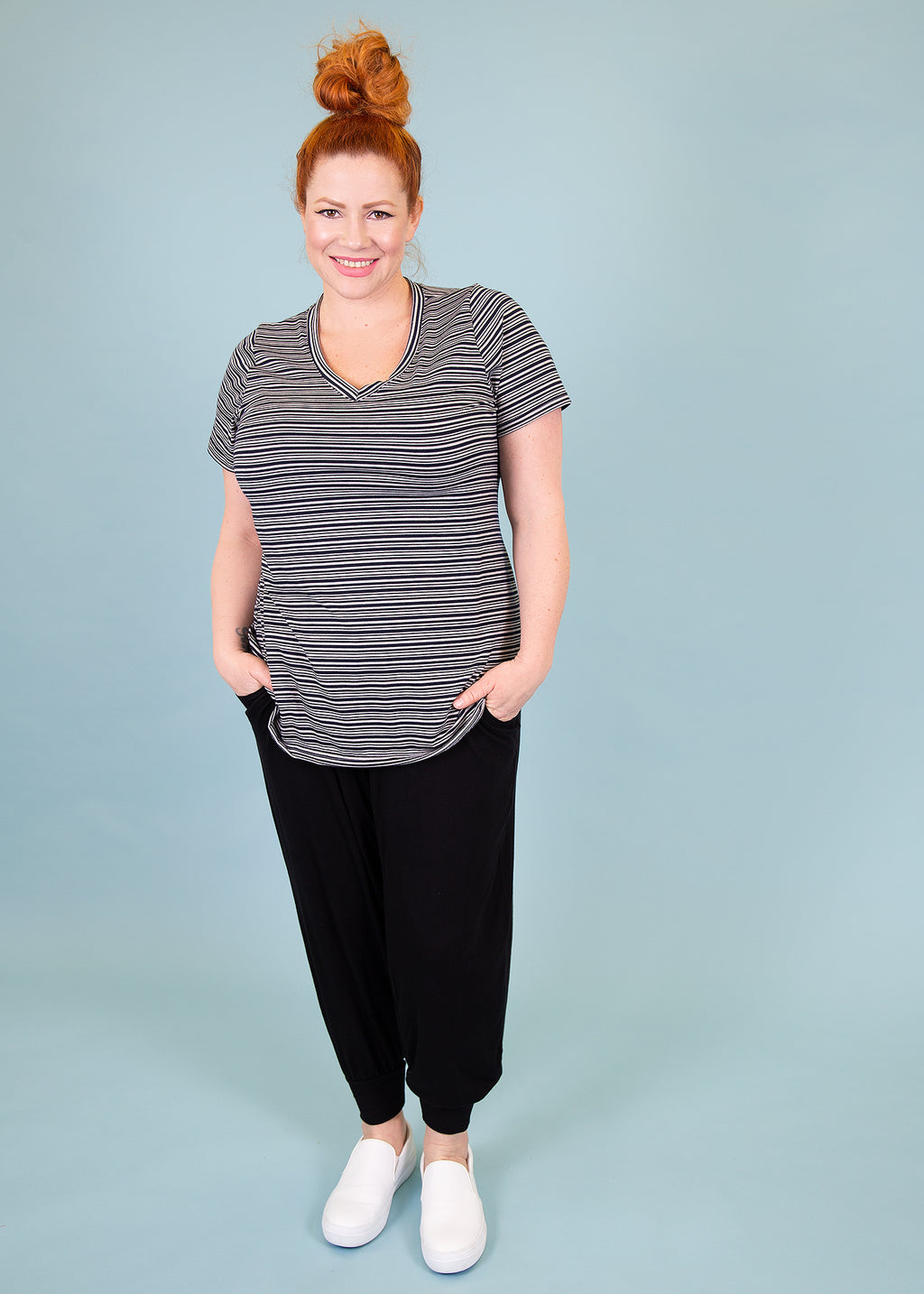 V-neck Tee - Black and White Stripe