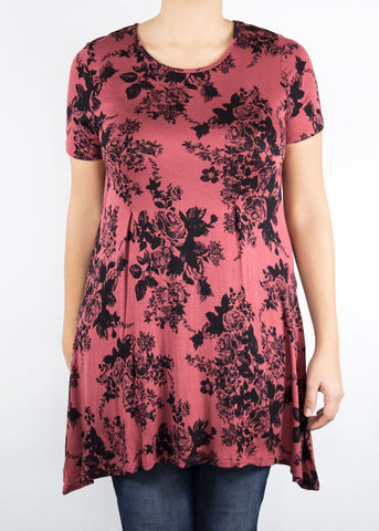Sunflower Tunic - Red and Black Floral