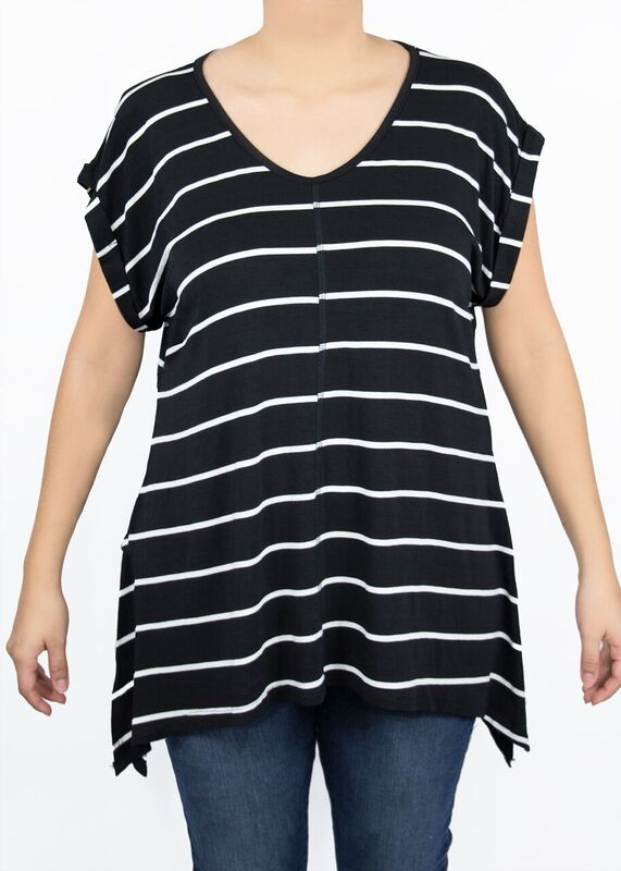 Paisley Raye Tulip Tee Black and White Stripe relaxed flowy shark bite hem top