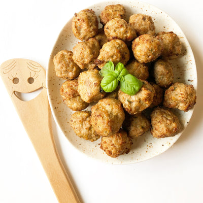 Air Fried Turkey Meatballs with Spaghetti Alfredo