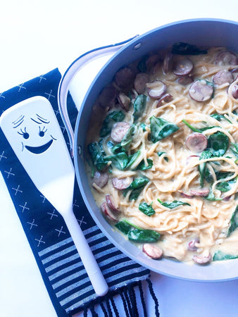 Creamy One Pot Spaghetti with Chicken Sausage