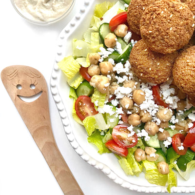 Falafel Salad with Creamy Garlic Tahini