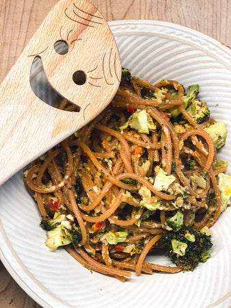 Red Lentil Pasta with Roasted Broccoli in Parmesan Artichoke Antipasto Bomba Sauce
