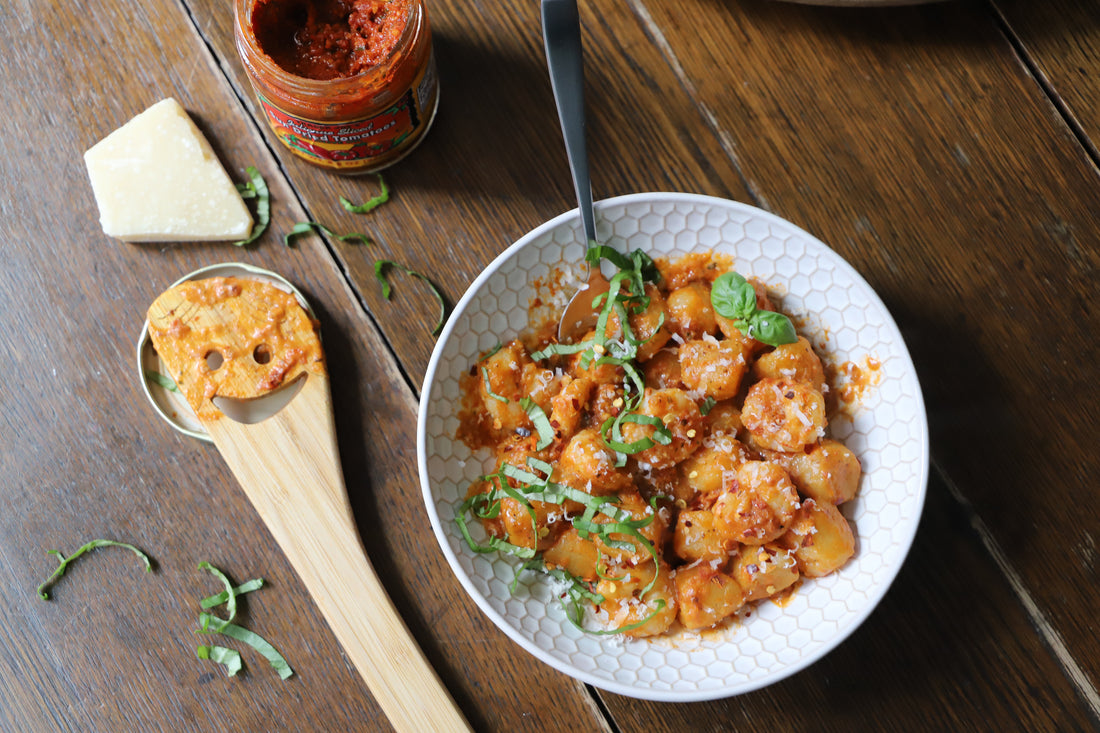 Sun Dried Tomato Pesto Cauliflower Gnocchi with Shrimp