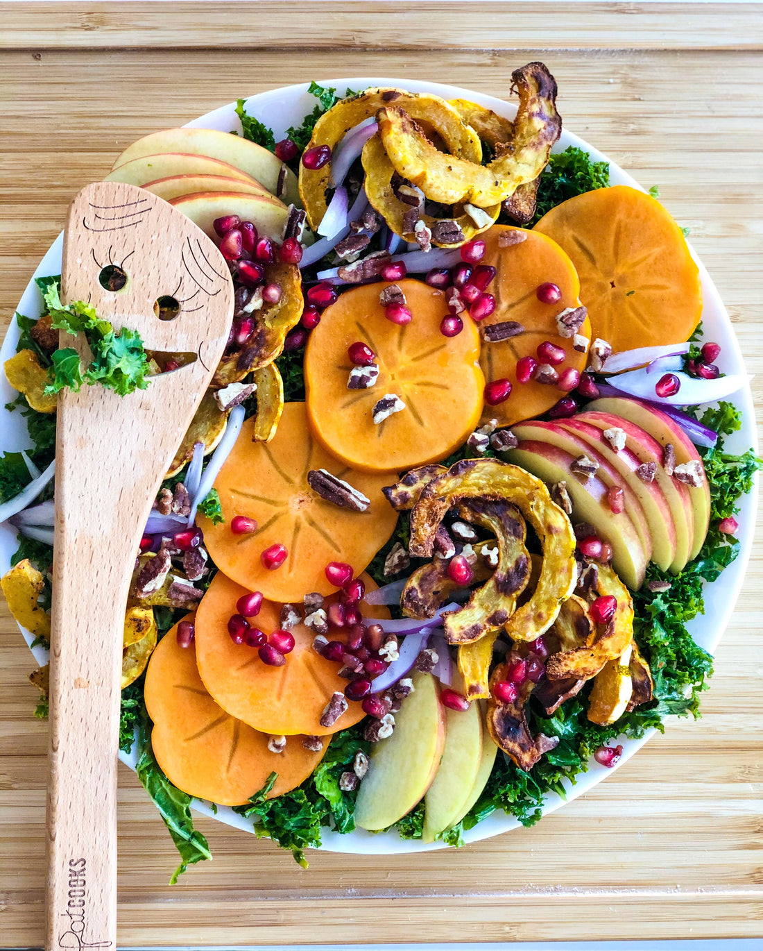 Kale Salad with Roasted Delicata Squash & Fall Fruits