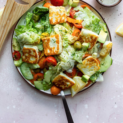 Fried Halloumi Greek Salad