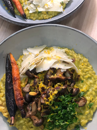 Asparagus Risotto with Mushrooms and Toasted Pistachios