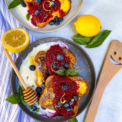 Brioche French Toast with Raspberry Compote & Whipped Ricotta