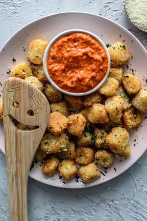 Air Fryer Parmesan Cauliflower Gnocchi With Romesco Dip