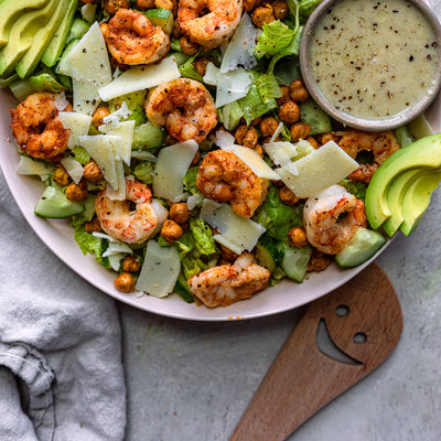 Shrimp Caesar Salad With Air Fried Chickpeas