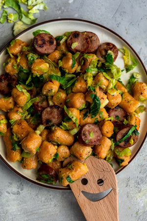 Sweet Potato Gnocchi with Shaved Brussels and Chicken Sausage