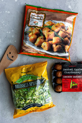 Sweet Potato Gnocchi With Shaved Brussels And Chicken Sausage Pat Cooks