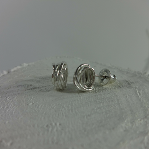 sterling silver round woven studs