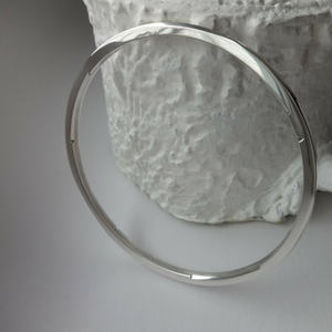 minimalist contemporary sterling silver carve detail bracelet