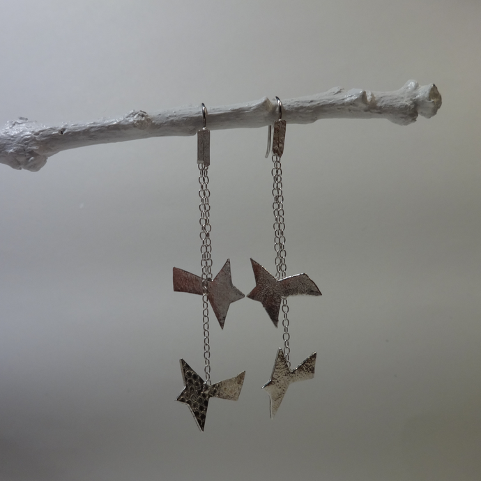 silver abstract bird kinetic earrings