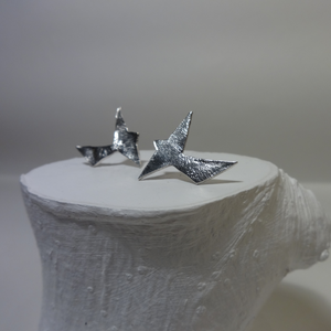 silver abstract bird stud earrings